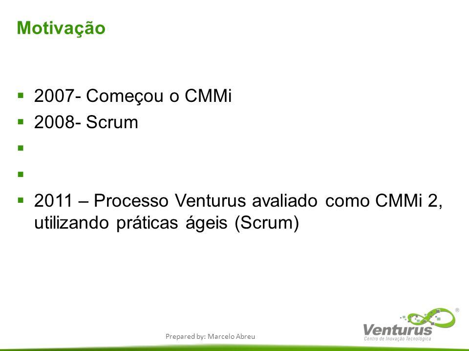 Motivação 2007- Começou o CMMi. 2008- Scrum.