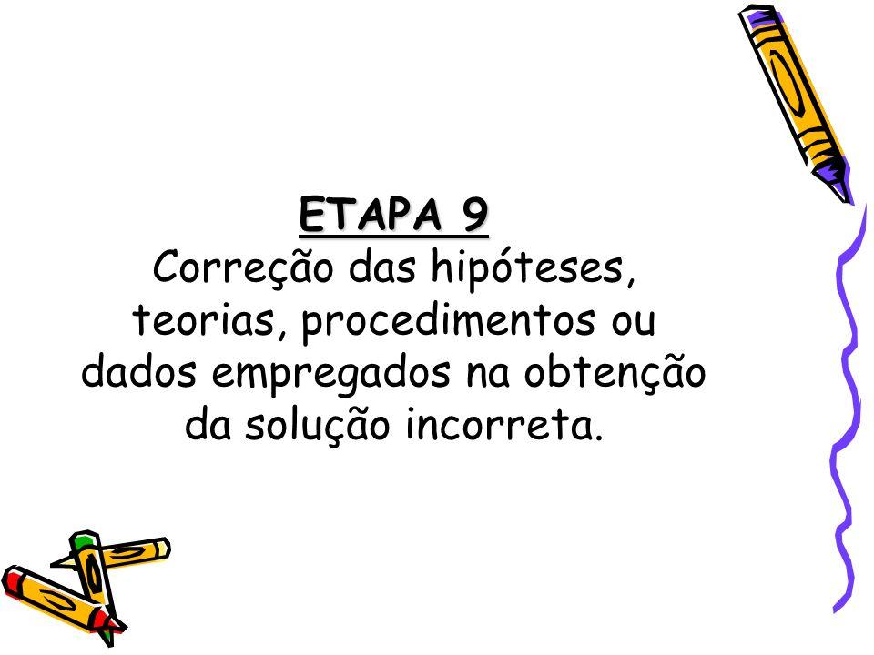 ETAPA 9 Correção das hipóteses, teorias, procedimentos ou dados empregados na obtenção da solução incorreta.