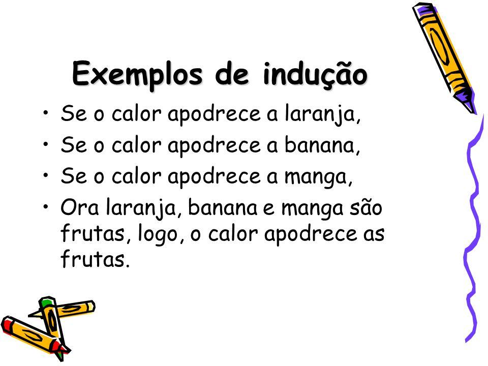 Exemplos de indução Se o calor apodrece a laranja,