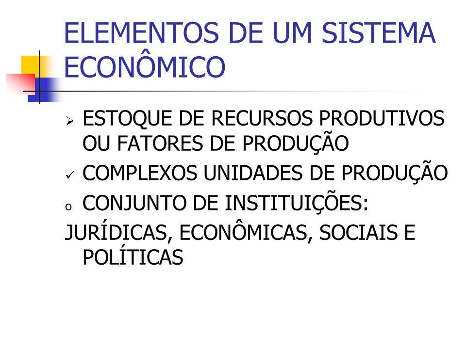 ELEMENTOS DE UM SISTEMA ECONÔMICO