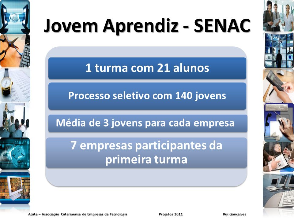 Jovem Aprendiz - SENAC 1 turma com 21 alunos