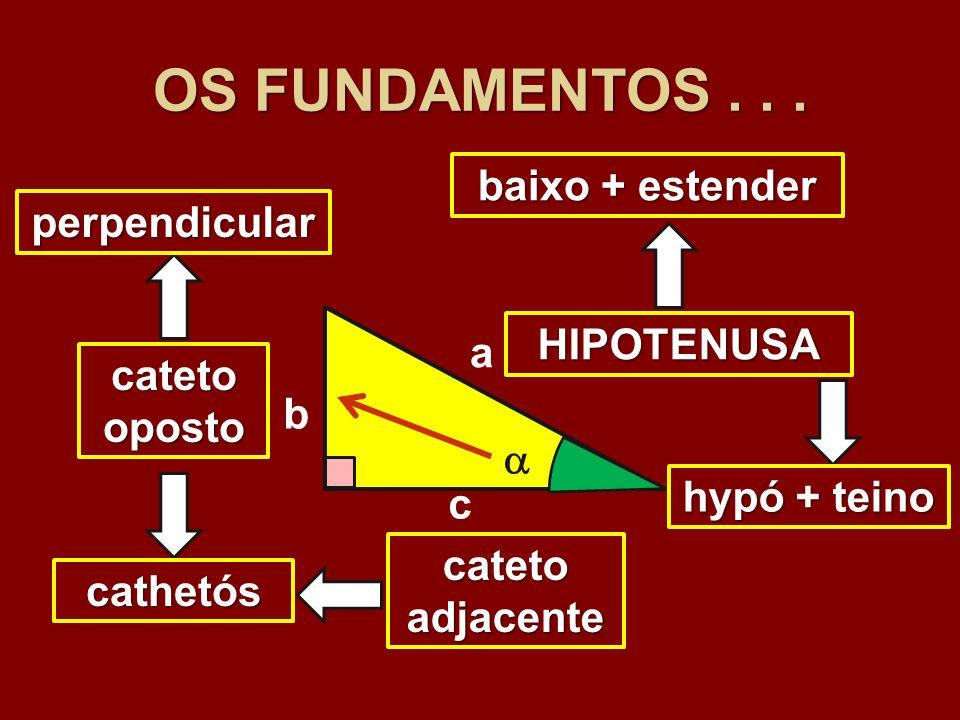 OS FUNDAMENTOS . . . baixo + estender perpendicular HIPOTENUSA a