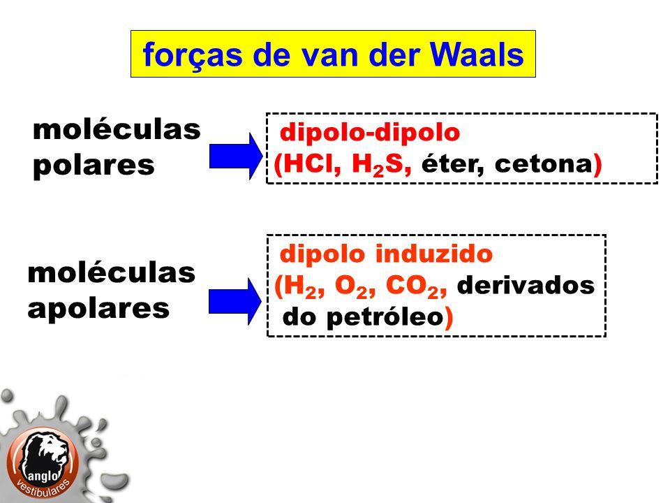 moléculas polares moléculas apolares (HCl, H2S, éter, cetona)