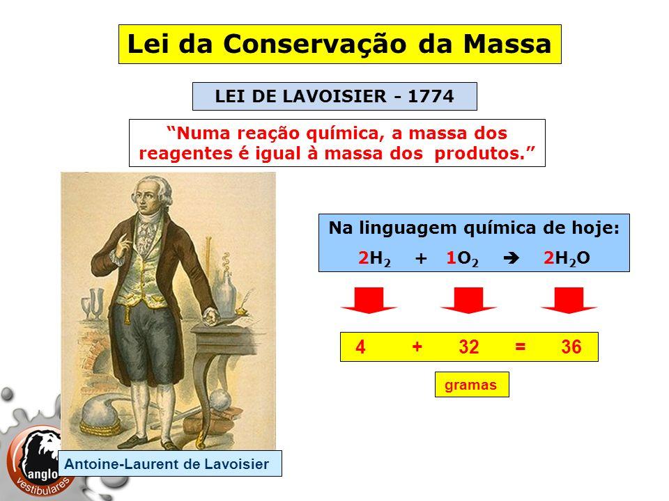 Lei da Conservação da Massa Na linguagem química de hoje: