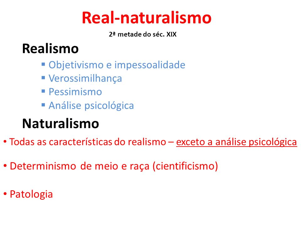 Real-naturalismo Realismo Naturalismo