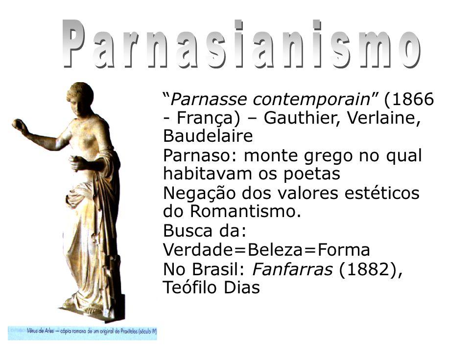 Parnasianismo Parnasse contemporain (1866 - França) – Gauthier, Verlaine, Baudelaire. Parnaso: monte grego no qual habitavam os poetas.