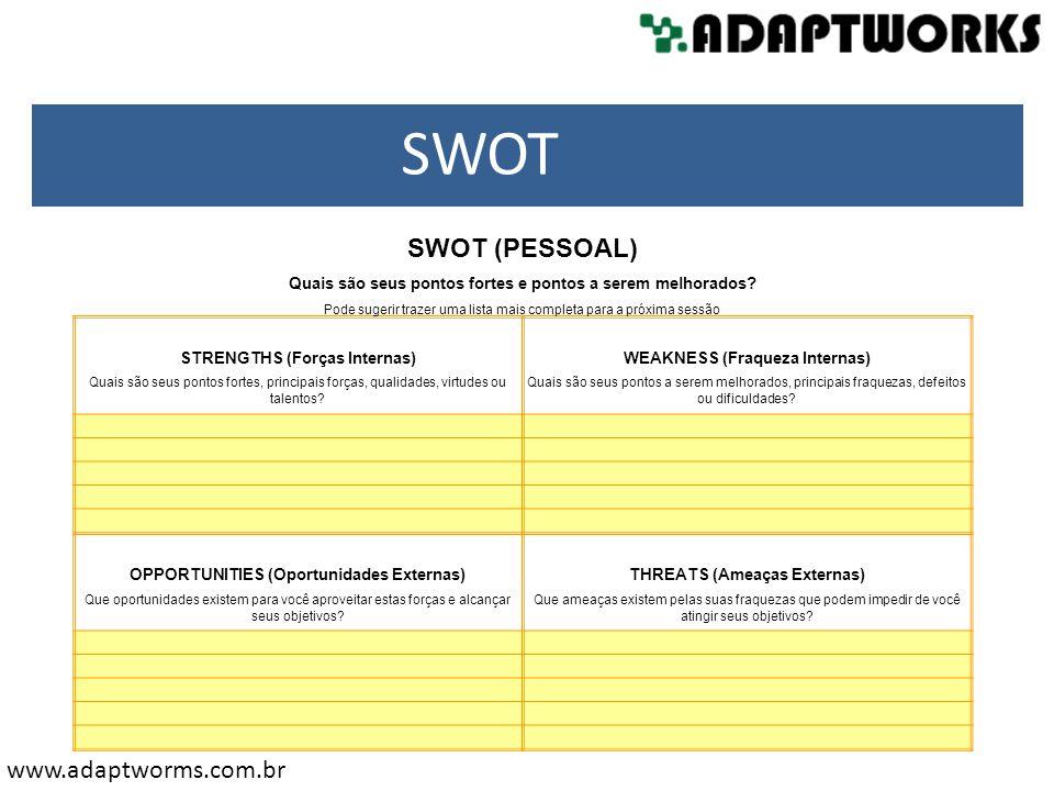 SWOT SWOT (PESSOAL) Quais são seus pontos fortes e pontos a serem melhorados Pode sugerir trazer uma lista mais completa para a próxima sessão.