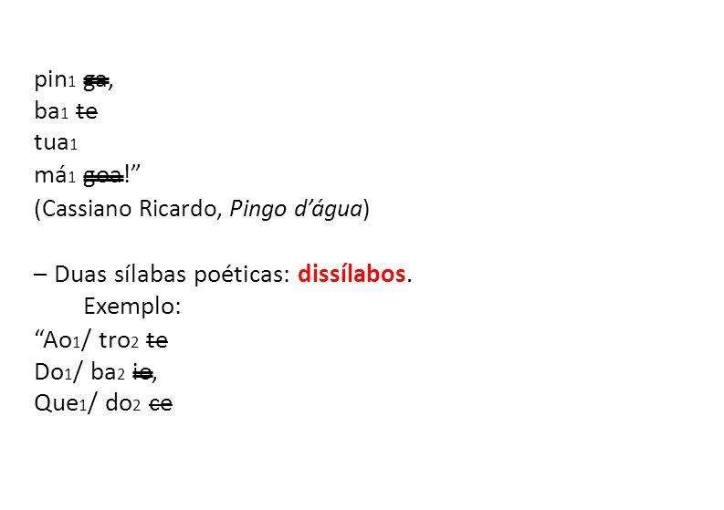 pin1 ga, ba1 te. tua1. má1 goa! (Cassiano Ricardo, Pingo d'água) – Duas sílabas poéticas: dissílabos.