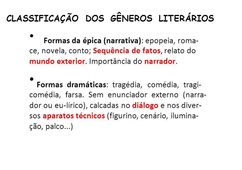 CLASSIFICAÇÃO DOS GÊNEROS LITERÁRIOS