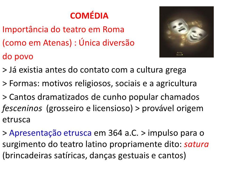 COMÉDIA Importância do teatro em Roma