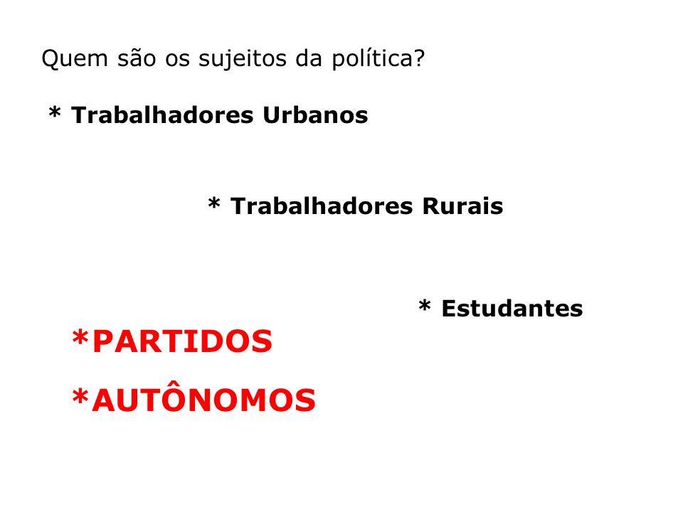 *PARTIDOS *AUTÔNOMOS Quem são os sujeitos da política
