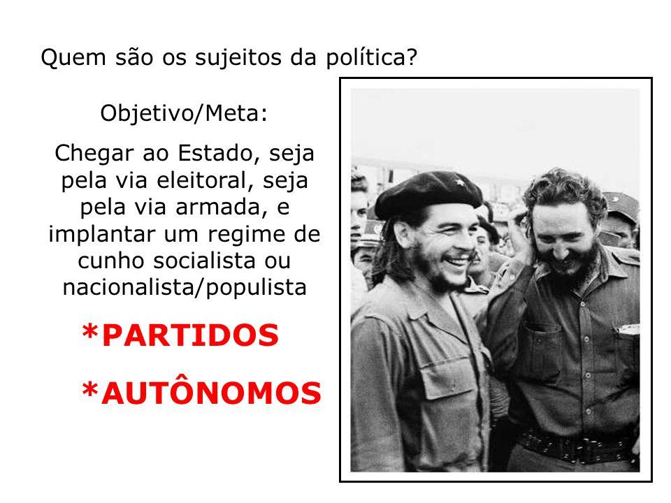 *PARTIDOS *AUTÔNOMOS Quem são os sujeitos da política Objetivo/Meta:
