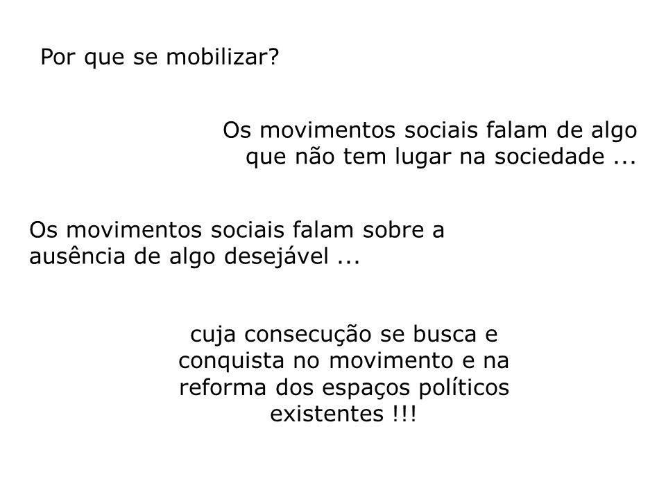 Por que se mobilizar Os movimentos sociais falam de algo que não tem lugar na sociedade ...