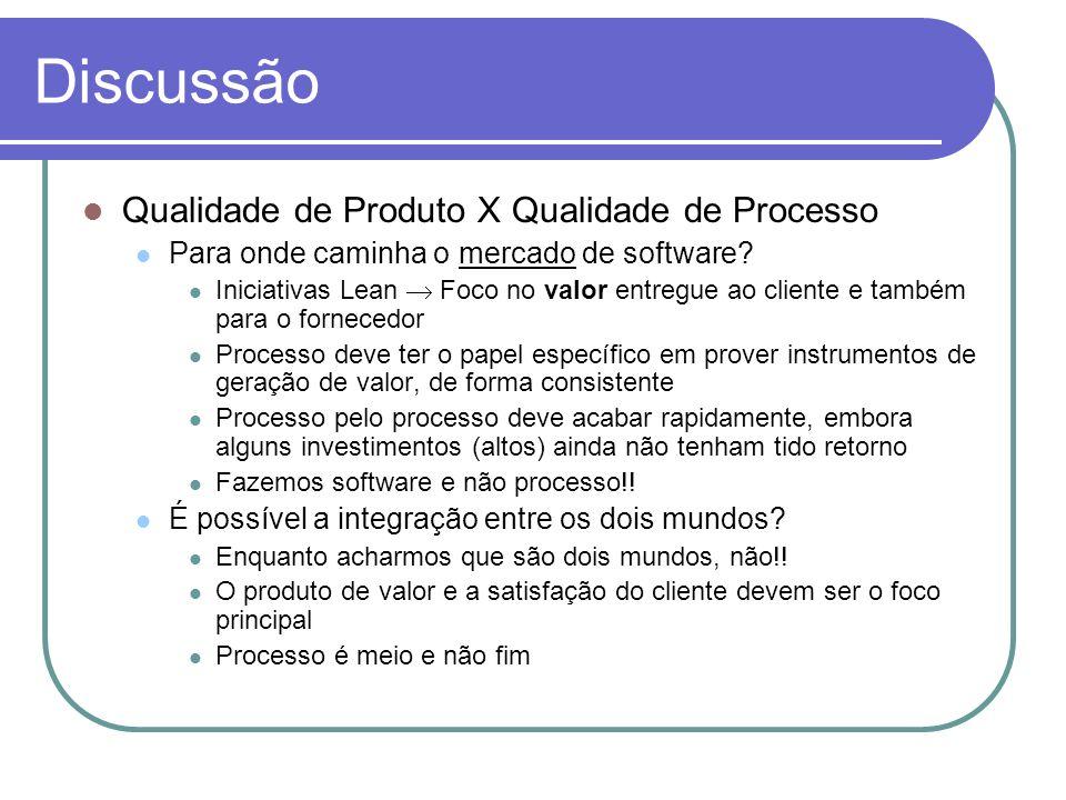 Discussão Qualidade de Produto X Qualidade de Processo