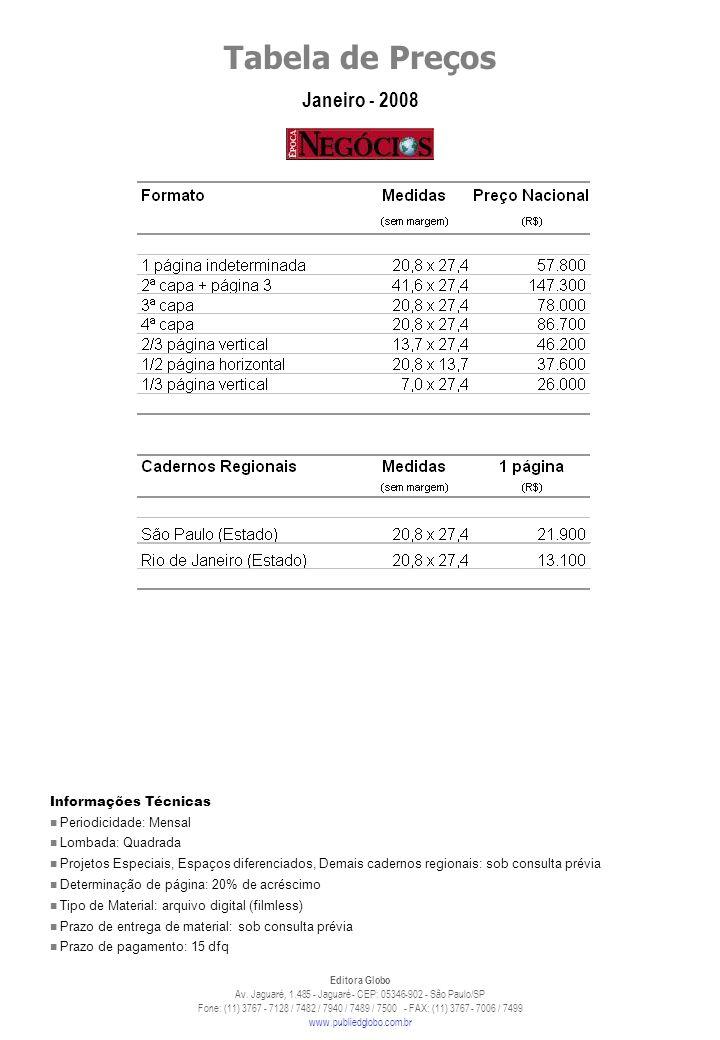 Informações TécnicasPeriodicidade: Mensal. Lombada: Quadrada.