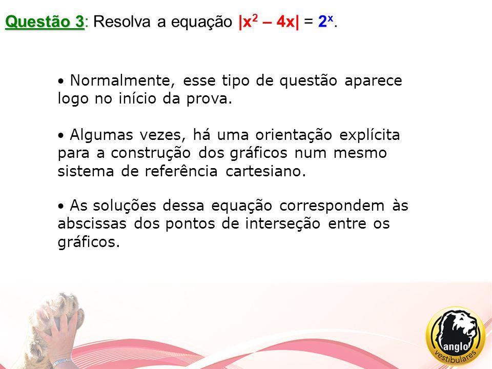 Questão 3: Resolva a equação |x2 – 4x| = 2x.