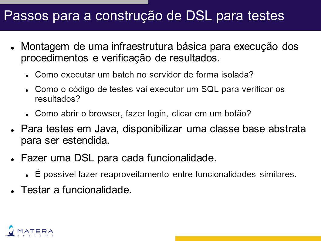 Passos para a construção de DSL para testes