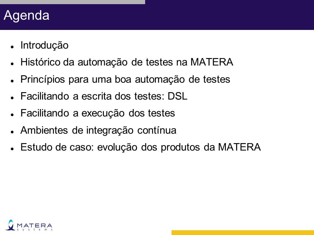Agenda Introdução Histórico da automação de testes na MATERA