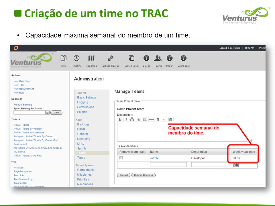 Criação de um time no TRAC