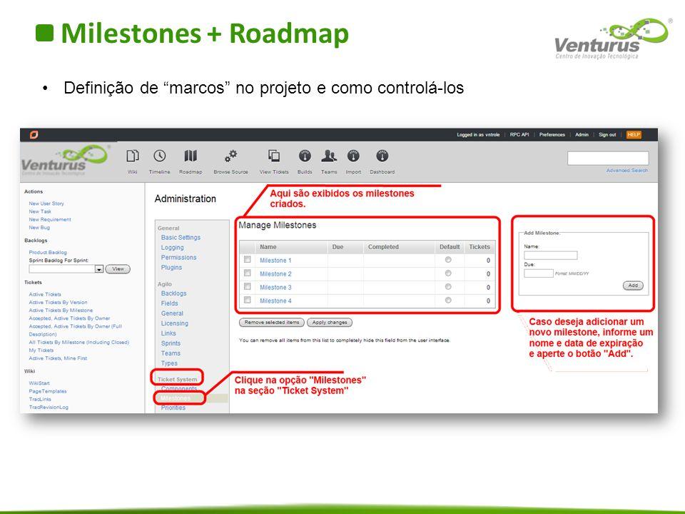 Milestones + Roadmap Definição de marcos no projeto e como controlá-los