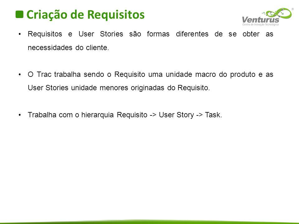 Criação de Requisitos Requisitos e User Stories são formas diferentes de se obter as necessidades do cliente.