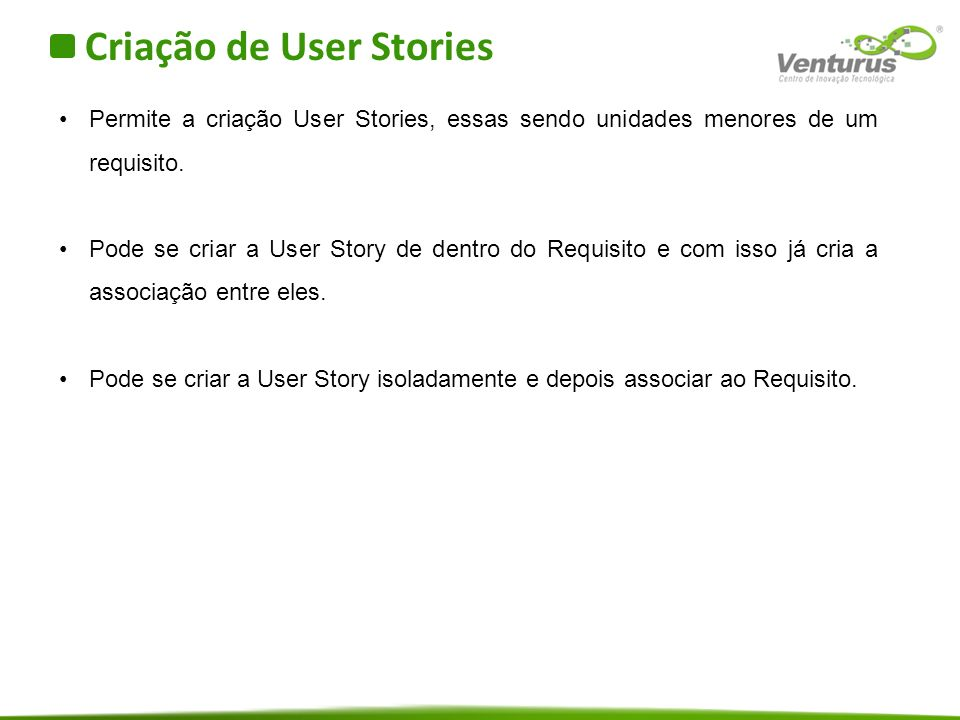 Criação de User Stories