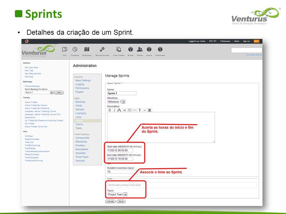 Sprints Detalhes da criação de um Sprint.