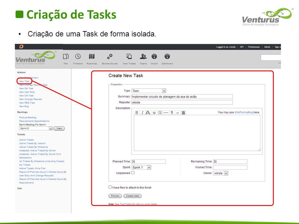 Criação de Tasks Criação de uma Task de forma isolada.