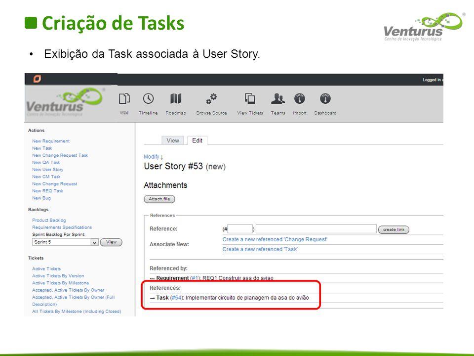 Criação de Tasks Exibição da Task associada à User Story.