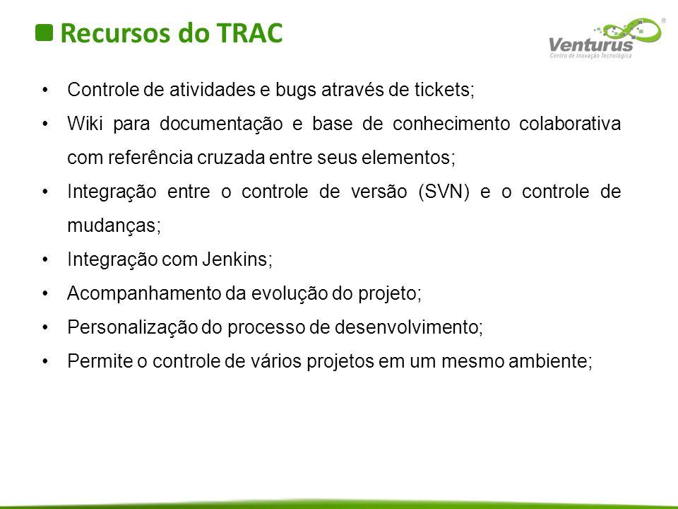 Recursos do TRAC Controle de atividades e bugs através de tickets;