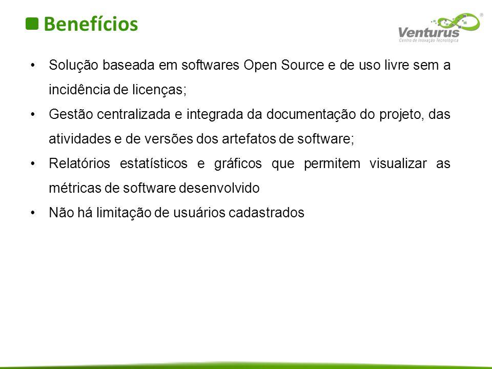 Benefícios Solução baseada em softwares Open Source e de uso livre sem a incidência de licenças;