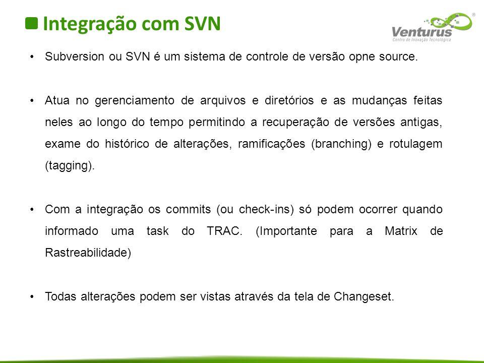 Integração com SVN Subversion ou SVN é um sistema de controle de versão opne source.