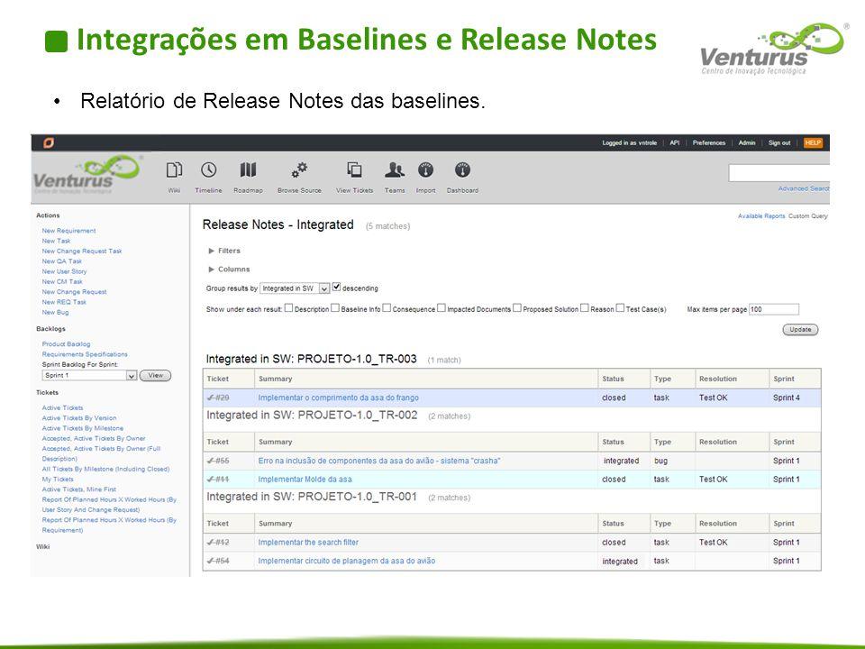 Integrações em Baselines e Release Notes