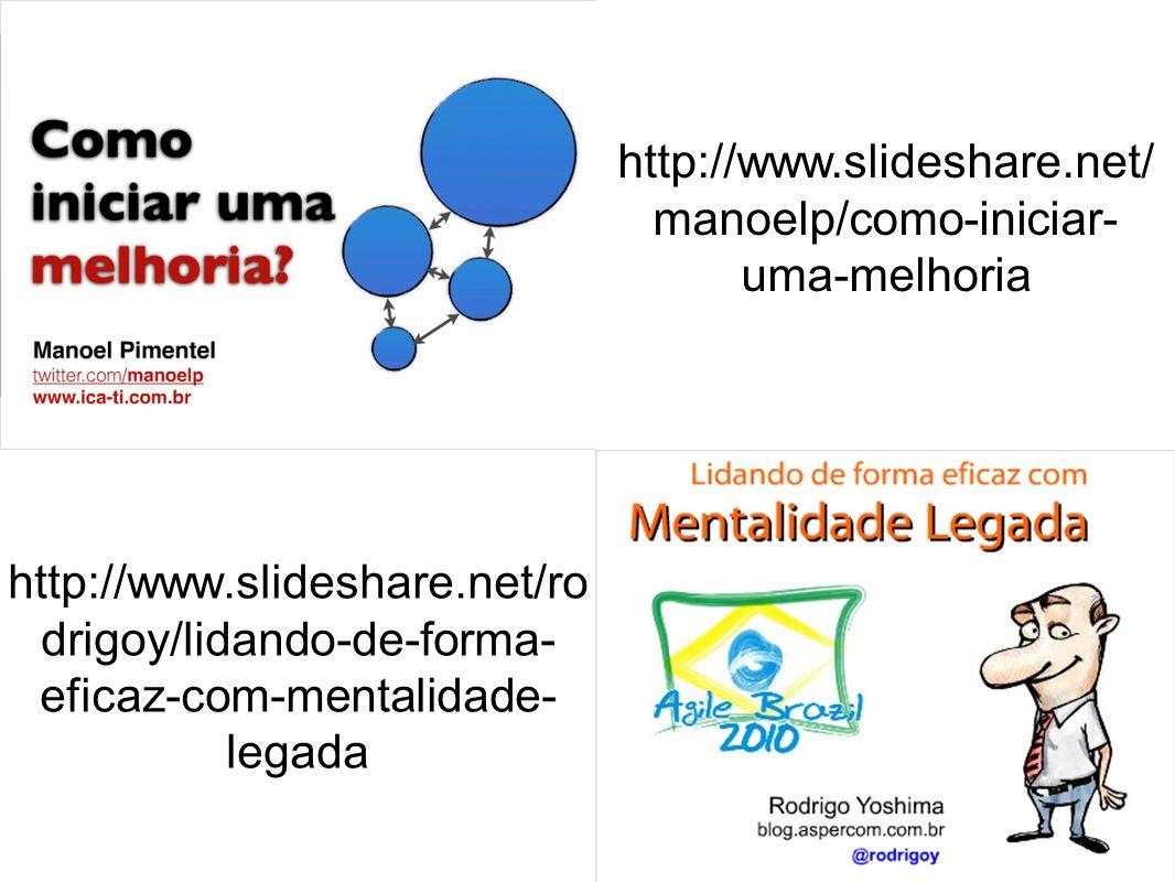 http://www.slideshare.net/manoelp/como-iniciar-uma-melhoria http://www.slideshare.net/rodrigoy/lidando-de-forma-eficaz-com-mentalidade-legada.