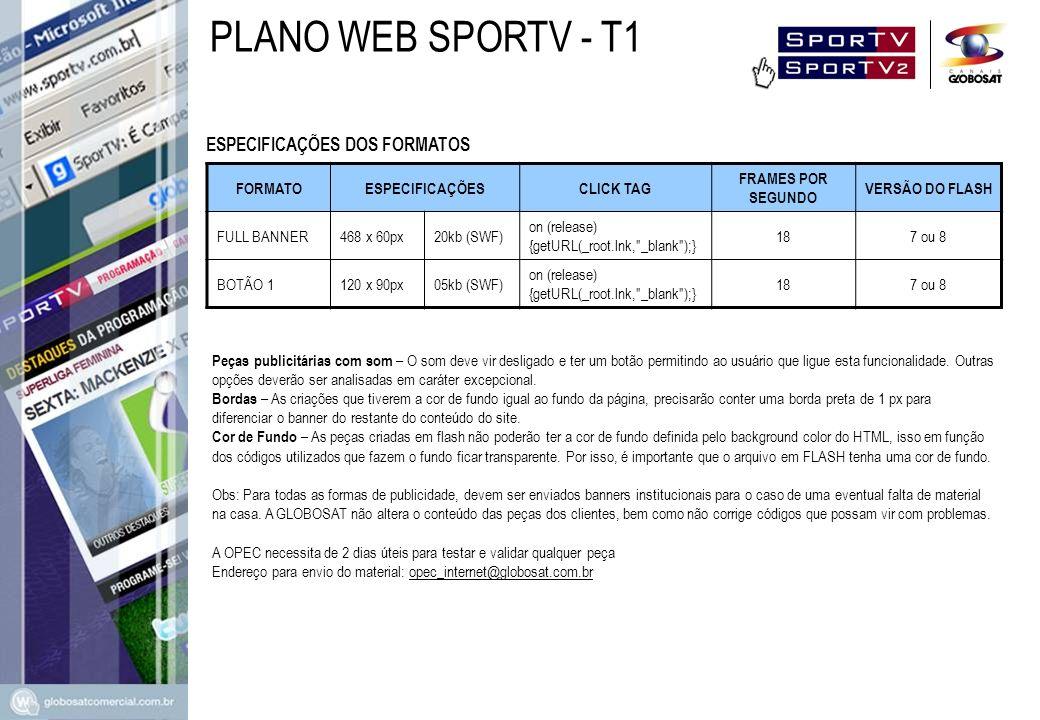 PLANO WEB SPORTV - T1 ESPECIFICAÇÕES DOS FORMATOS FORMATO