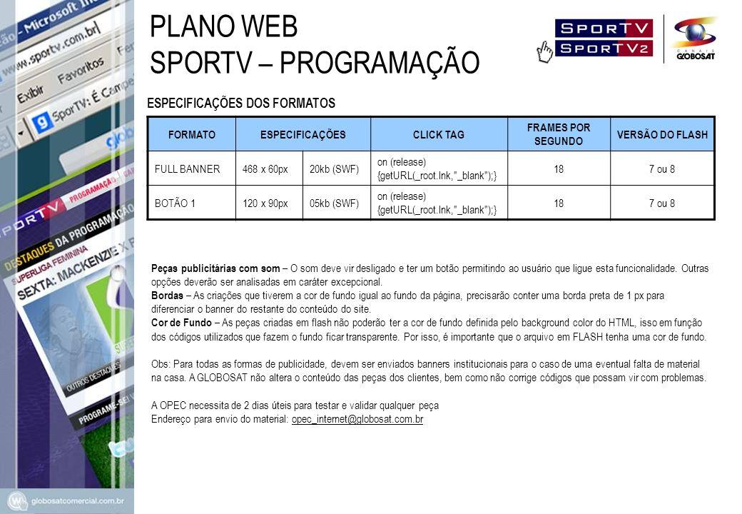 PLANO WEB SPORTV – PROGRAMAÇÃO ESPECIFICAÇÕES DOS FORMATOS FORMATO