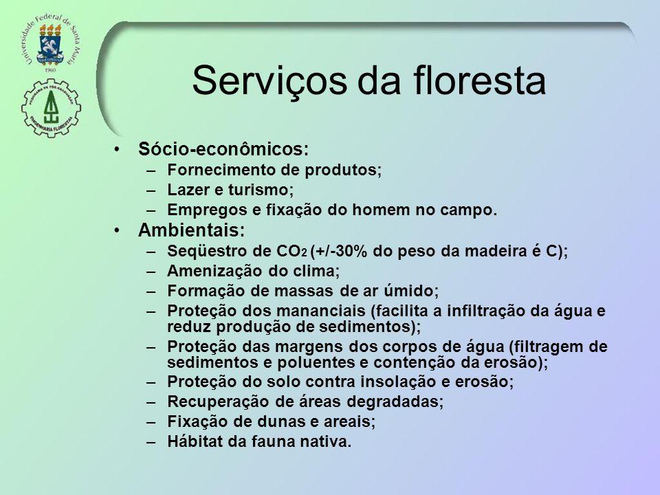 Serviços da floresta Sócio-econômicos: Ambientais: