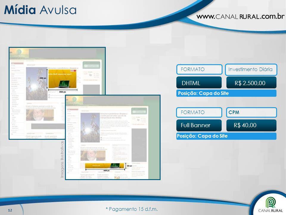 Mídia Avulsa DHTML R$ 2.500,00 Full Banner R$ 40,00 FORMATO