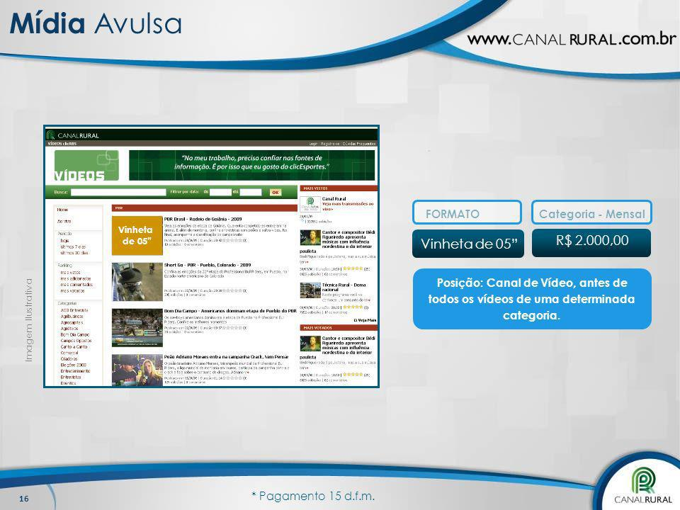 Mídia Avulsa R$ 2.000,00 Vinheta de 05 FORMATO Categoria - Mensal