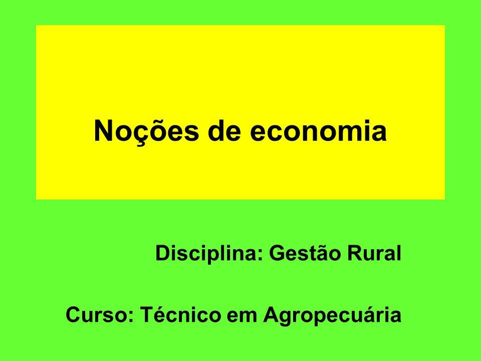 Disciplina: Gestão Rural Curso: Técnico em Agropecuária
