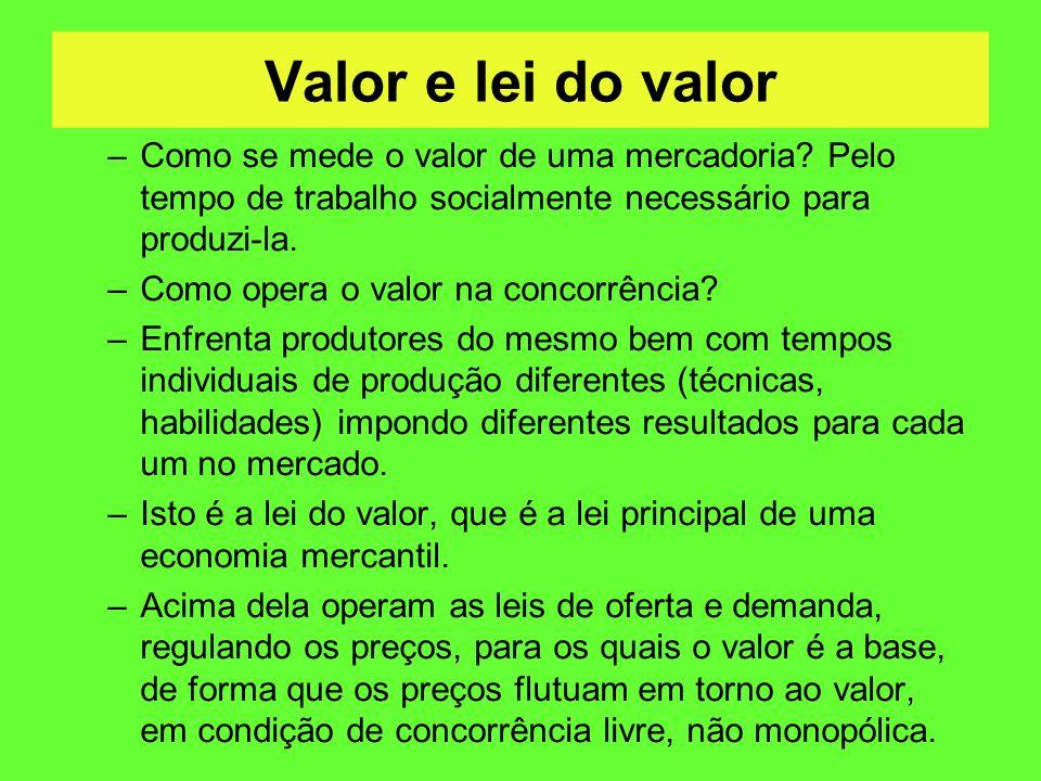 Valor e lei do valor Como se mede o valor de uma mercadoria Pelo tempo de trabalho socialmente necessário para produzi-la.
