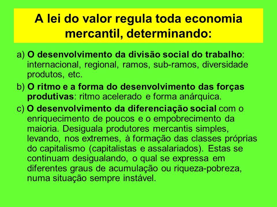 A lei do valor regula toda economia mercantil, determinando: