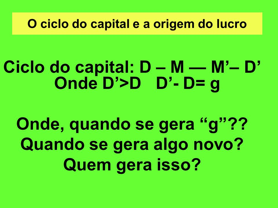 O ciclo do capital e a origem do lucro
