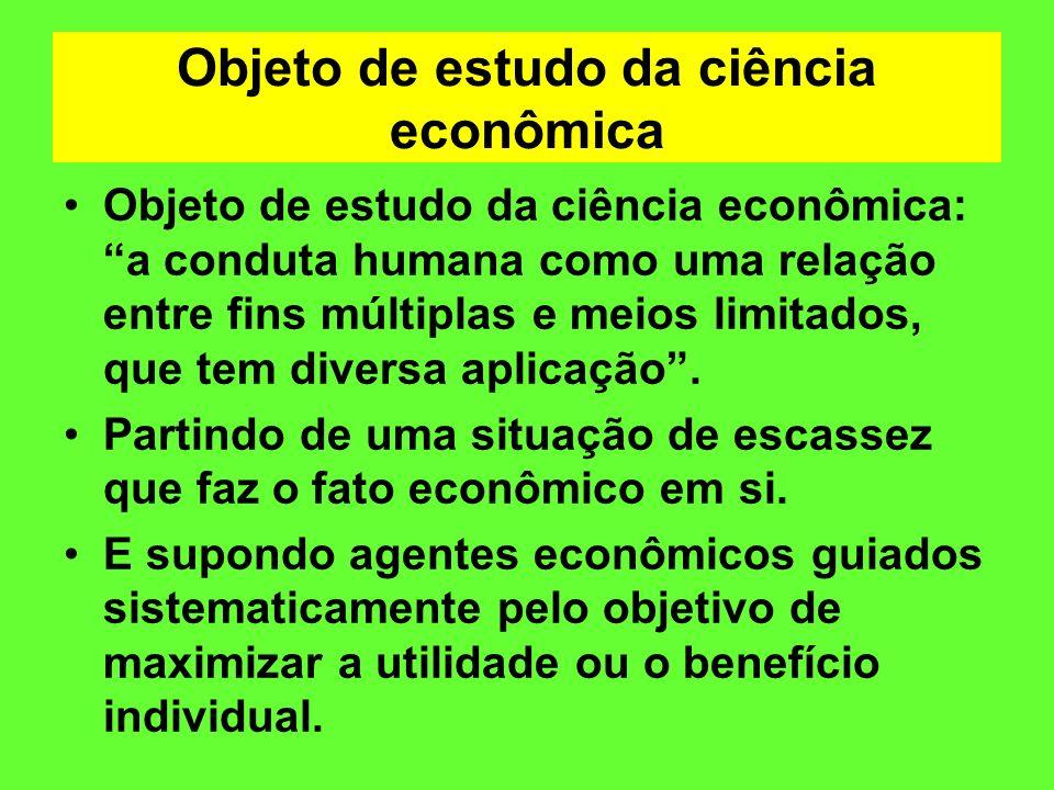 Objeto de estudo da ciência econômica