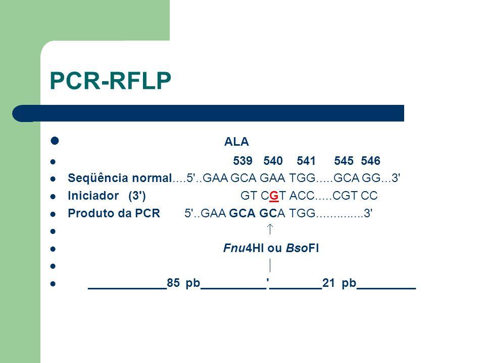PCR-RFLP ALA. 539 540 541 545 546. Seqüência normal....5 ..GAA GCA GAA TGG.....GCA GG...3