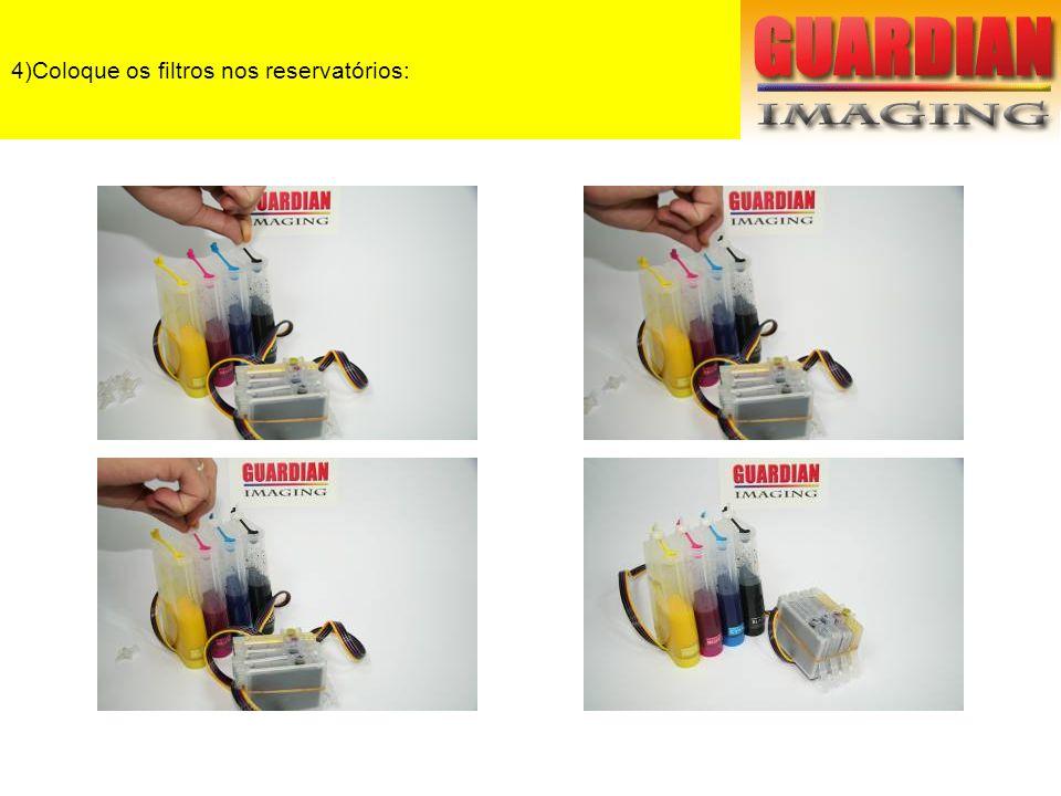 4)Coloque os filtros nos reservatórios: