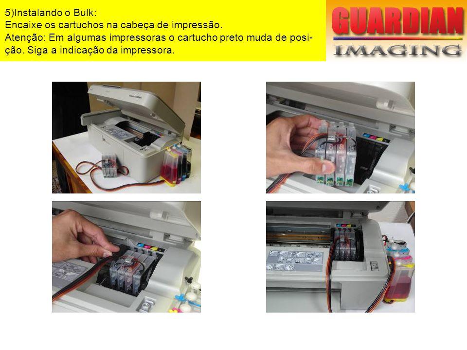 5)Instalando o Bulk: Encaixe os cartuchos na cabeça de impressão