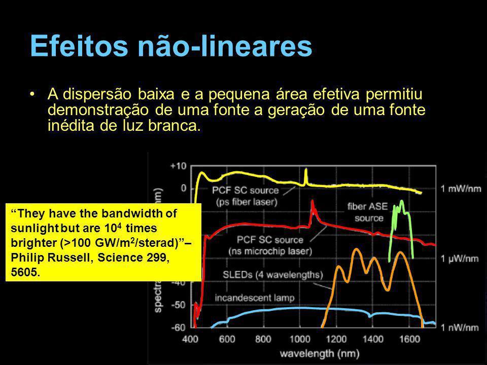 Efeitos não-linearesA dispersão baixa e a pequena área efetiva permitiu demonstração de uma fonte a geração de uma fonte inédita de luz branca.