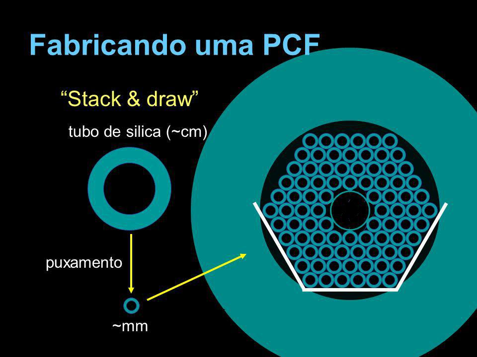 Fabricando uma PCF Stack & draw tubo de silica (~cm) puxamento ~mm