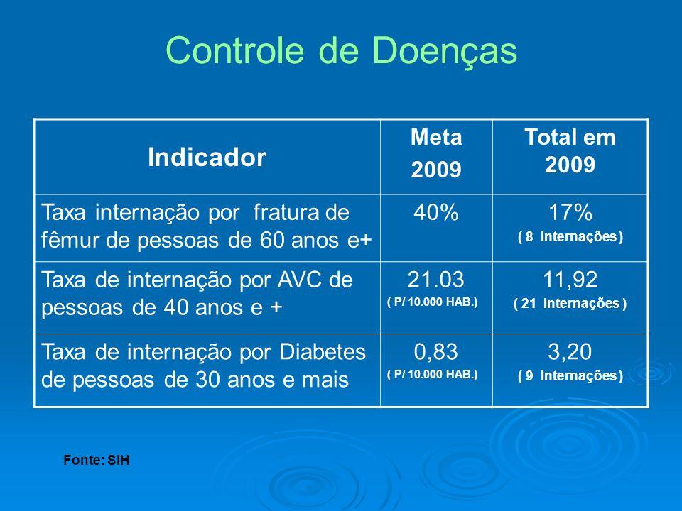 Controle de Doenças Indicador Meta 2009 Total em